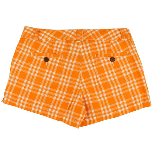 Women's Shorts in White and Orange Madras by Olde School Brand - FINAL SALE