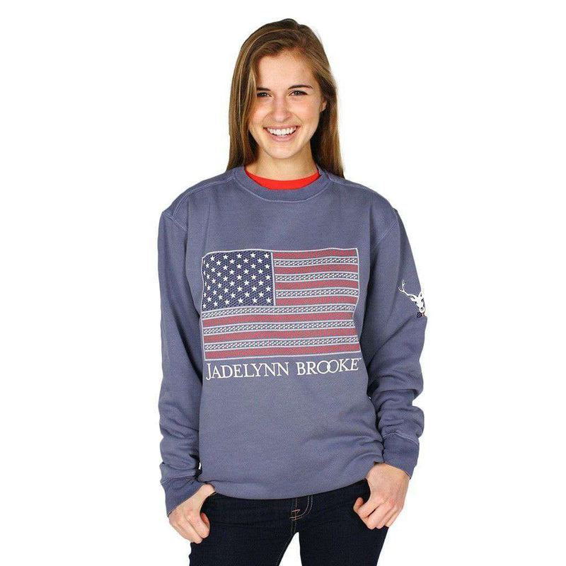 Amercia is Too Good for Small Dreams Sweatshirt in Blue Jean by Jadelynn Brooke