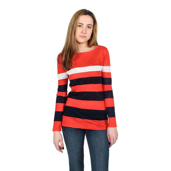 Emory Sweater in Coral, Navy, and White by Hiho - FINAL SALE