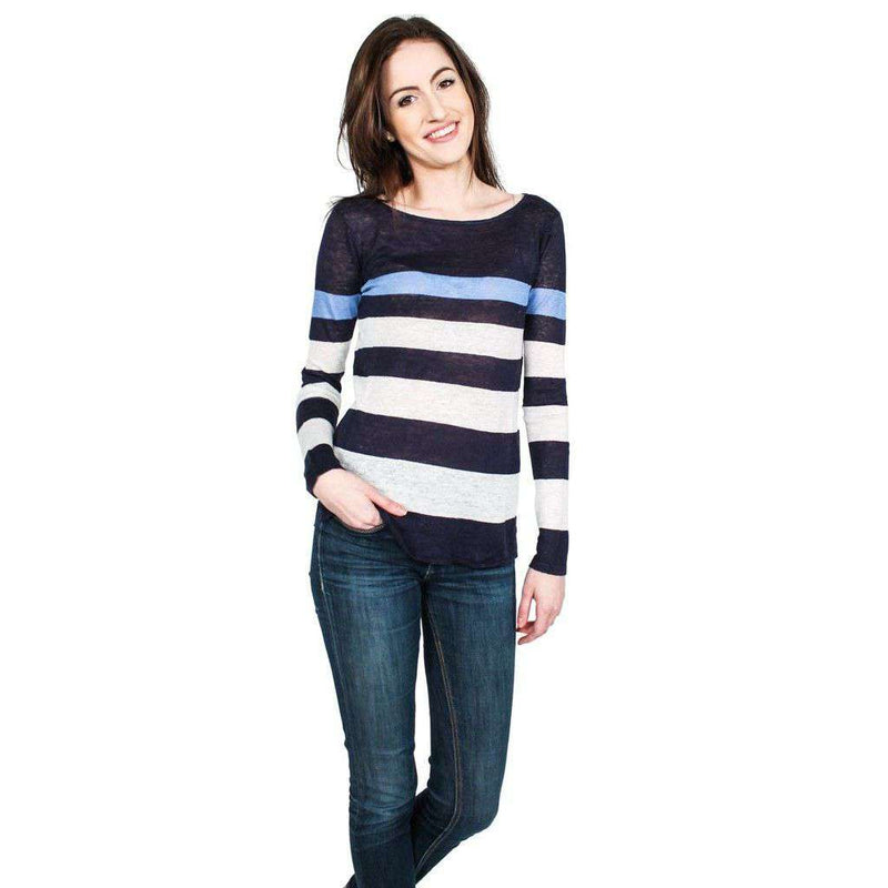 Women's Sweaters - Emory Sweater In Navy, White, And Blue By Hiho - FINAL SALE