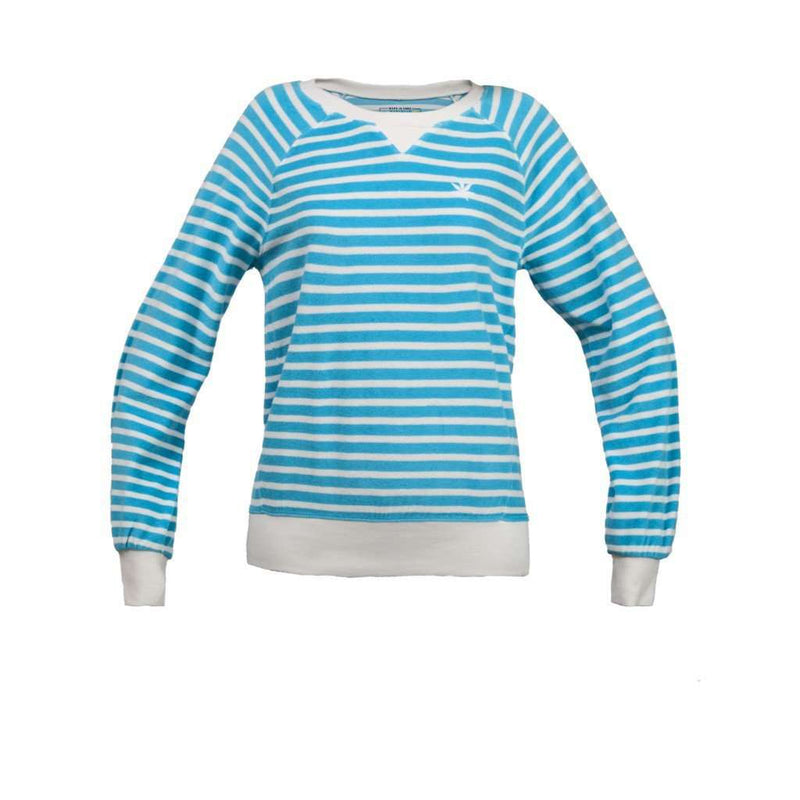 Women's Sweaters - Long Sleeve Terry Sweatshirt In Aqua And White Stripes By Boast - FINAL SALE