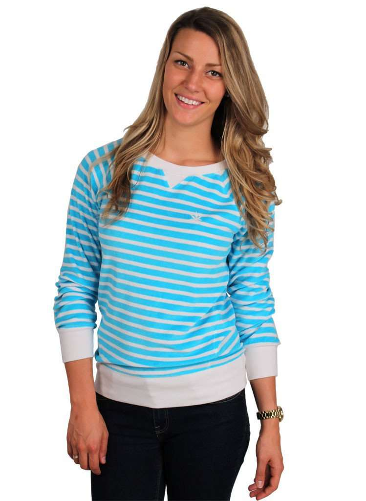 Long Sleeve Terry Sweatshirt in Aqua and White Stripes by Boast - FINAL SALE