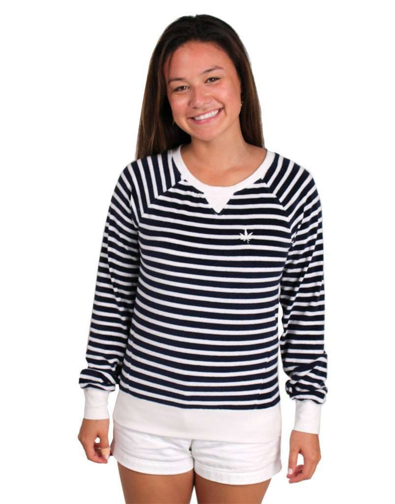 Long Sleeve Terry Sweatshirt in Navy and White Stripes by Boast - FINAL SALE
