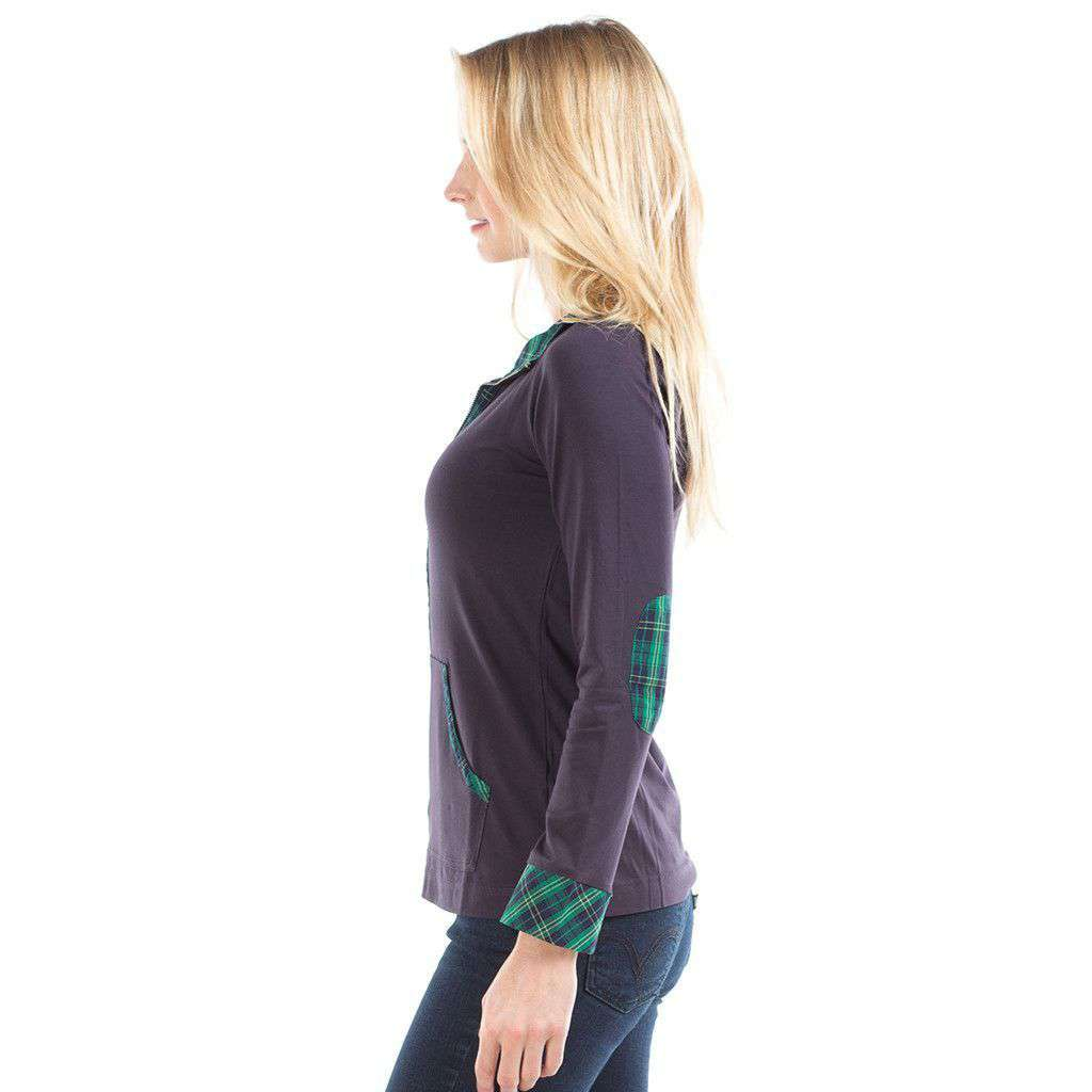 Women's Sweaters - Polly Pullover In Navy With Tartan Trim By Duffield Lane - FINAL SALE