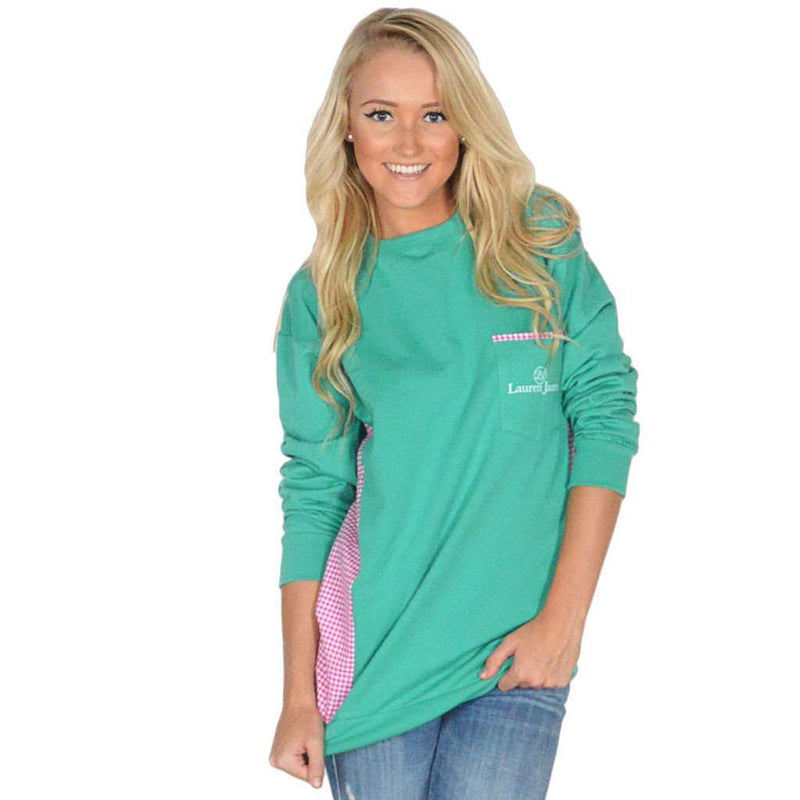 Women's Sweaters - Prepcheck Sweatshirt In Emerald With Fuchsia Gingham By Lauren James - FINAL SALE