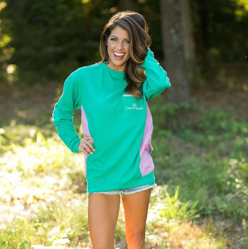 Prepcheck Sweatshirt in Emerald with Fuchsia Gingham by Lauren James - FINAL SALE