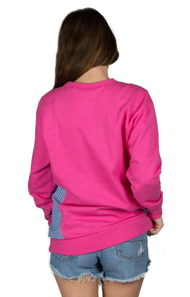 Women's Sweaters - Prepcheck Sweatshirt In Fuchsia With Royal Gingham By Lauren James - FINAL SALE