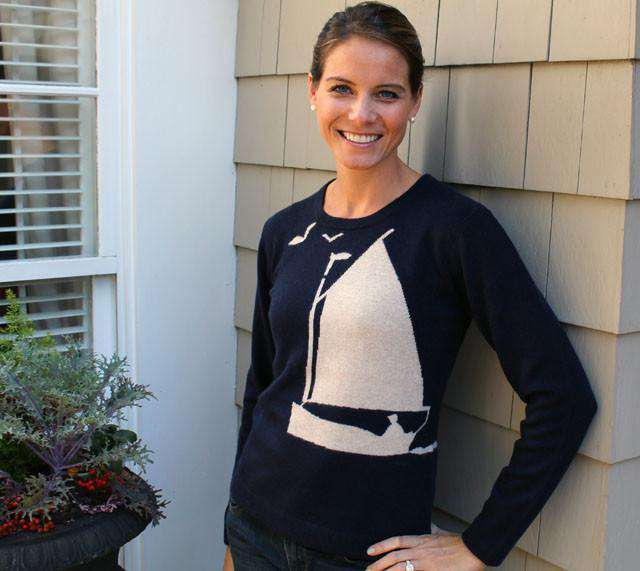 Sail Away Cashmere Crewneck Sweater in Navy and Beige by Cortland Park