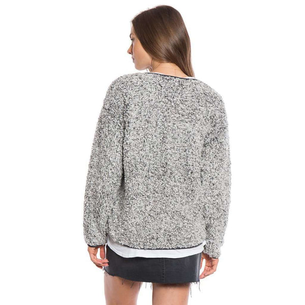 Solid Frosty Tipped Drop Shoulder Crew Sweater in Charcoal by True Grit (Dylan)