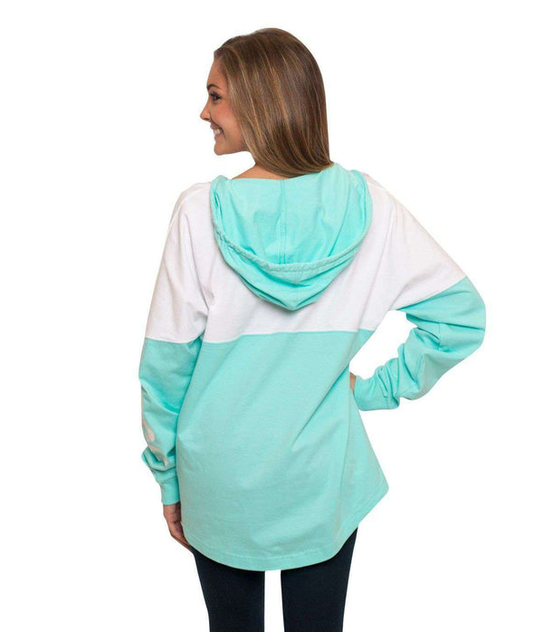 V-Neck Hoodie in Ocean Blue by The Southern Shirt Co. - FINAL SALE