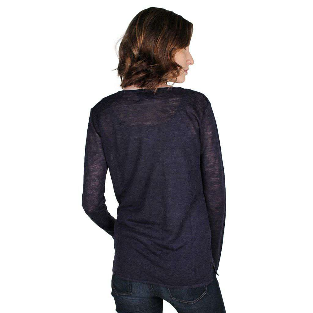 Women's Sweaters - V-Neck Sweater In Night Sky Navy By Hiho - FINAL SALE