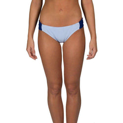 Women's Swimwear - Blue Seersucker Bandeau Bikini Bottom By Lauren James - FINAL SALE