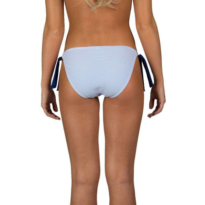 Blue Seersucker Tie Side Bikini Bottom by Lauren James - FINAL SALE