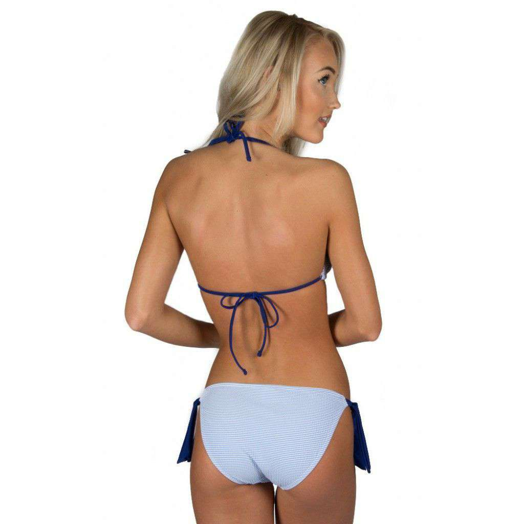 Women's Swimwear - Blue Seersucker Tie Side Bikini Bottom By Lauren James - FINAL SALE