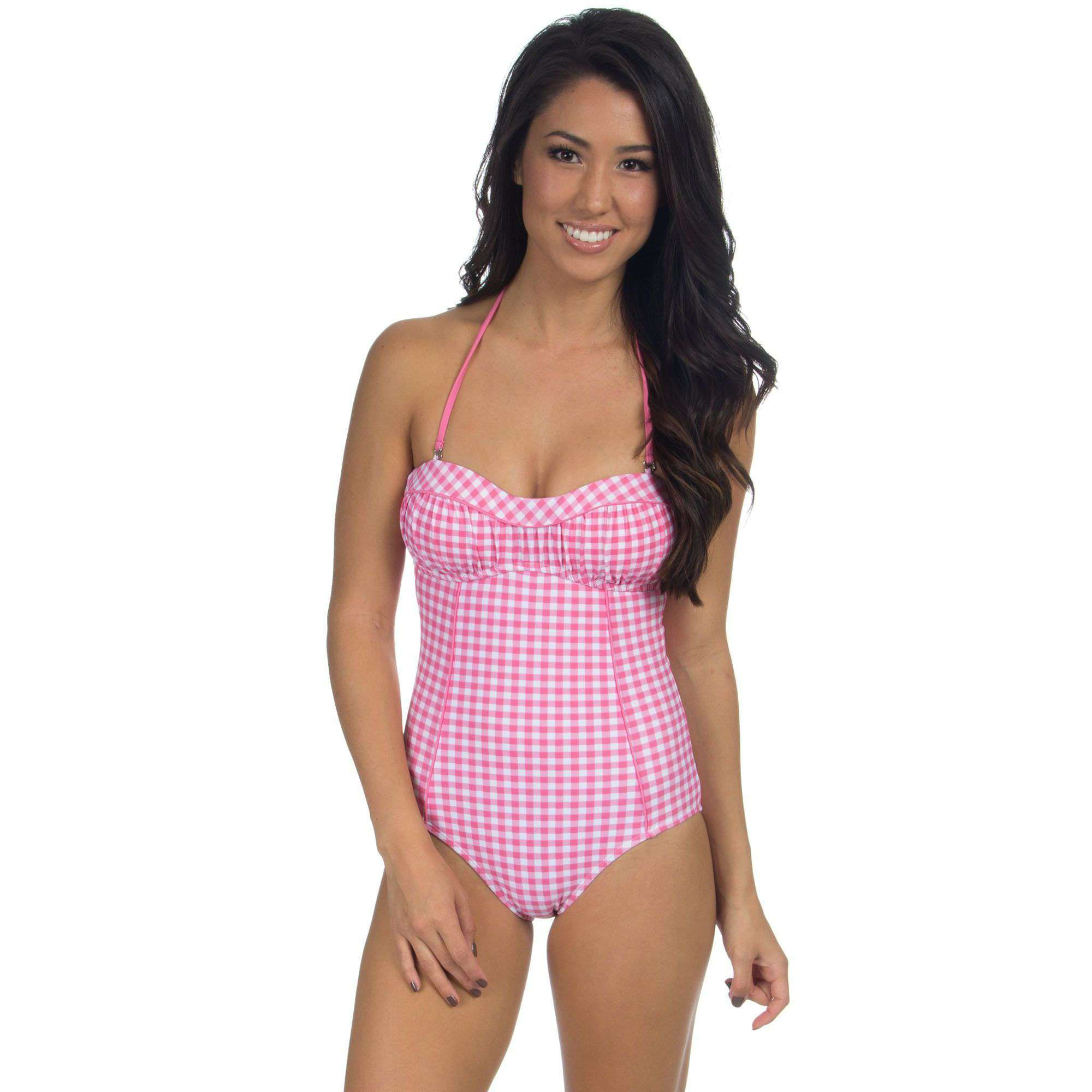 09822d2b03 Lauren James Gingham One Piece Bandeau Swimsuit in Pink – Country Club Prep