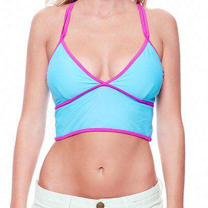 Women's Swimwear - Kristi Boobypack In Blue With Purple Piping By Boobypack - FINAL SALE