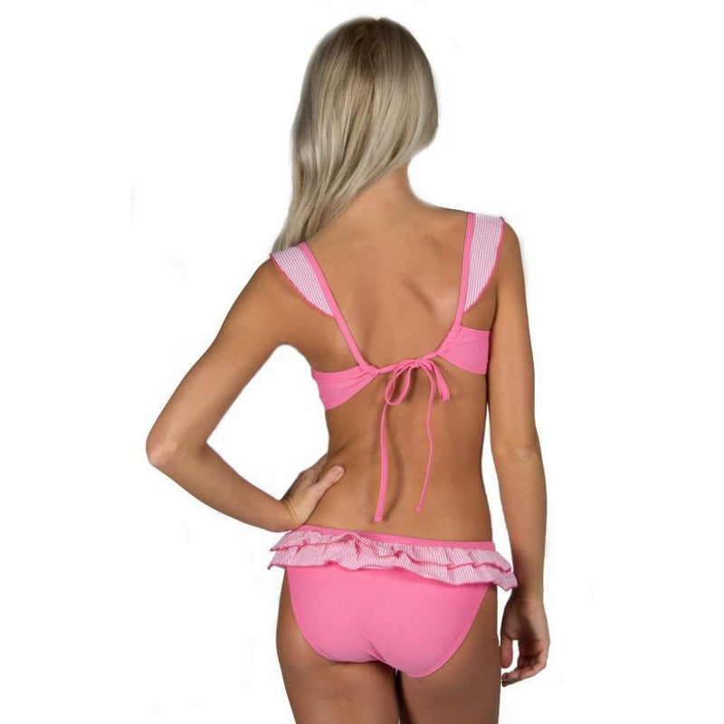 Pink Seersucker Ruffle Bikini Top by Lauren James - FINAL SALE