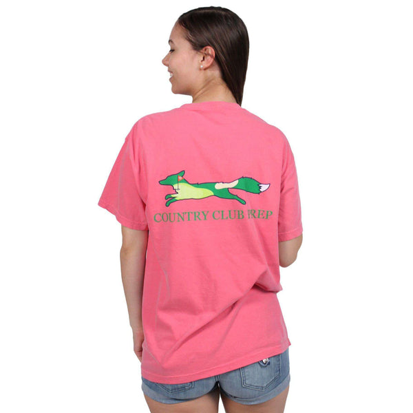 Women's Tee Shirts - 19th Hole Longshanks Logo Tee Shirt In Crunchberry By Country Club Prep