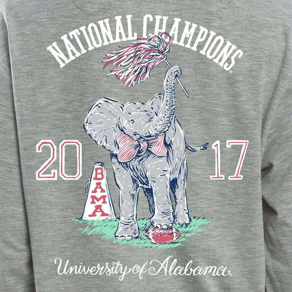 Women's Tee Shirts - 2017 National Champs Long Sleeve Tee In Heather Grey By Lauren James