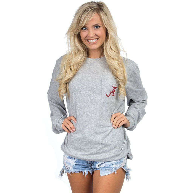 Alabama Long Sleeve Stadium Tee in Heather Grey by Lauren James - FINAL SALE