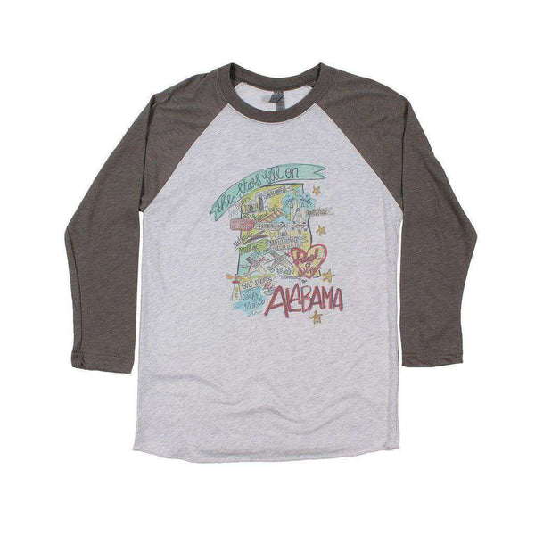 Women's Tee Shirts - Alabama Roadmap Raglan Tee By Southern Roots
