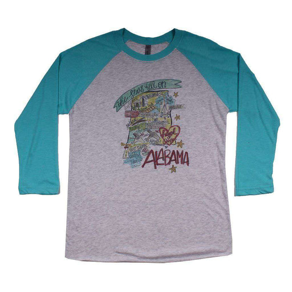 Women's Tee Shirts - Alabama Roadmap Raglan Tee Shirt In Tahiti Blue By Southern Roots