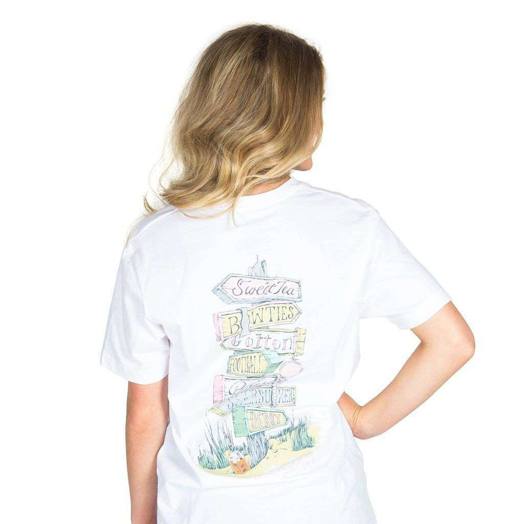 Women's Tee Shirts - All Roads Lead South Pocket Tee In White By Lauren James - FINAL SALE
