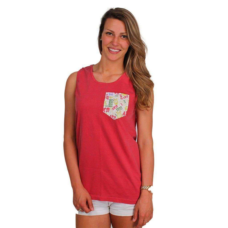 Women's Tee Shirts - Alpha Chi Omega Tank Top In Crimson With Pattern Pocket By The Frat Collection - FINAL SALE