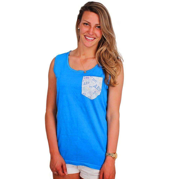Alpha Delta Pi Tank Top in Royal Caribbean Blue with Pattern Pocket by the Frat Collection - FINAL SALE