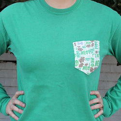 Women's Tee Shirts - Alpha Epsilon Phi Long Sleeve Tee Shirt In Grass Green With Pattern Pocket By The Frat Collection - FINAL SALE