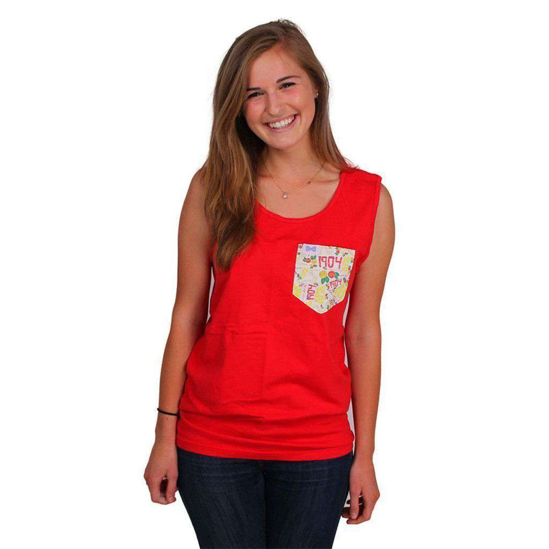 Women's Tee Shirts - Alpha Gamma Delta Tank Top In Red With Pattern Pocket By The Frat Collection - FINAL SALE
