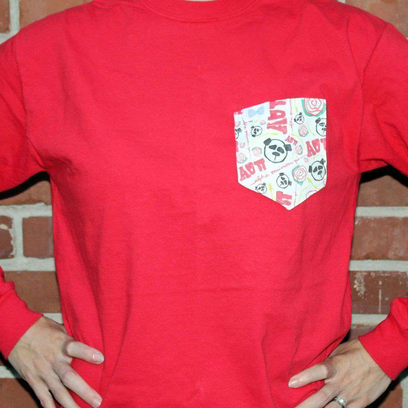Women's Tee Shirts - Alpha Omicron Pi Long Sleeve Tee Shirt In Red With Pattern Pocket By The Frat Collection