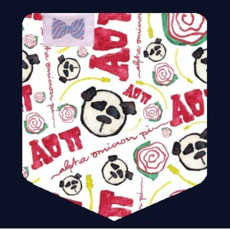 Women's Tee Shirts - Alpha Omicron Pi Tank Top In Red With Pattern Pocket By The Frat Collection - FINAL SALE