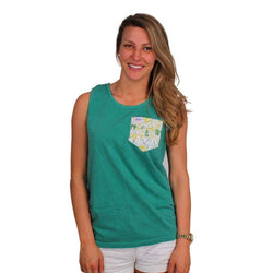 Women's Tee Shirts - Alpha Sigma Tau Tank Top In Grass With Pattern Pocket By The Frat Collection - FINAL SALE
