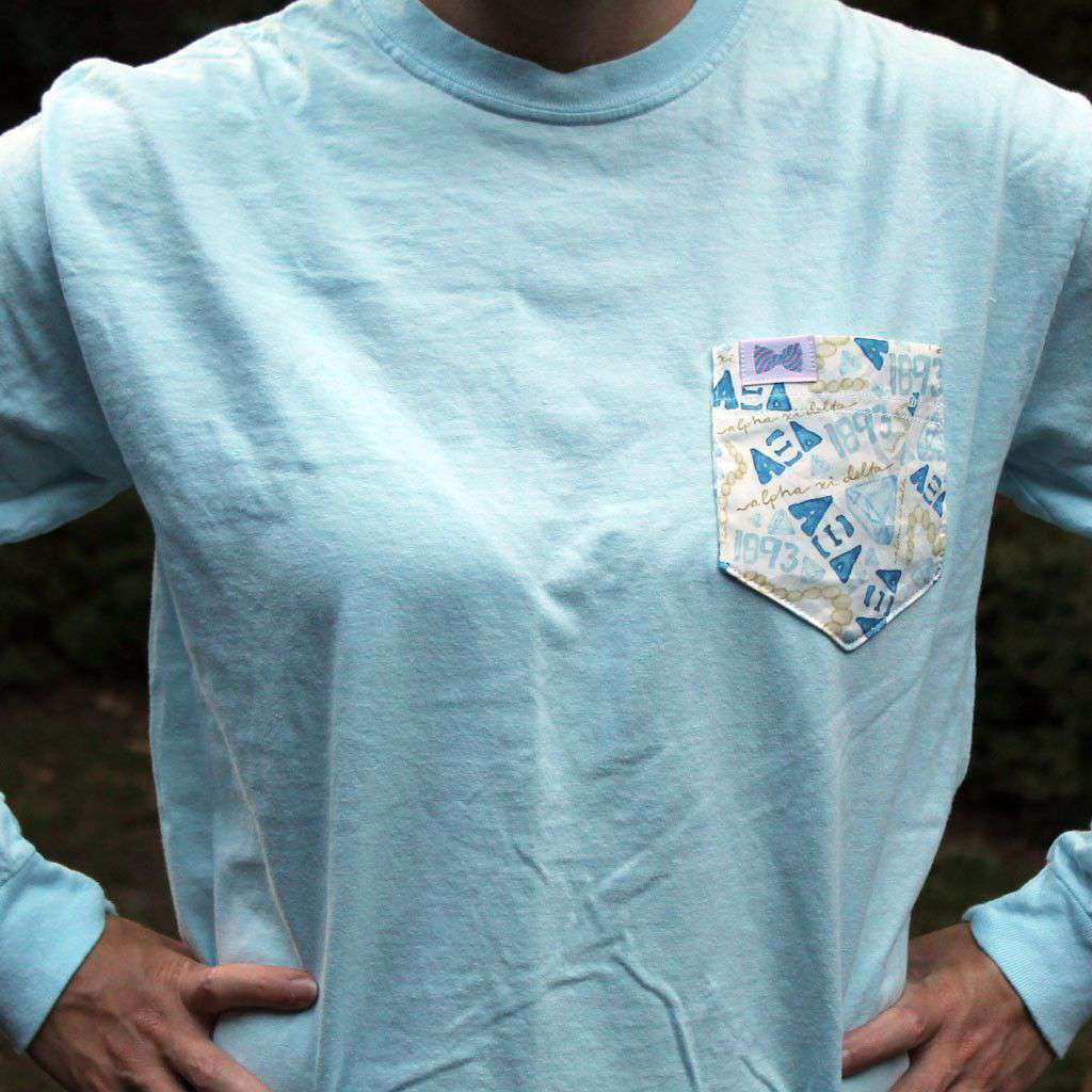 Women's Tee Shirts - Alpha Xi Delta Long Sleeve Tee Shirt In Chambray With Pattern Pocket By The Frat Collection
