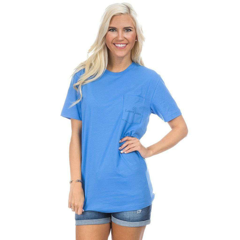 American Derby Days Pocket Tee in Delta Blue by Lauren James - FINAL SALE