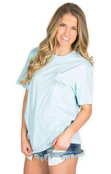 Women's Tee Shirts - American Magnolia Pocket Tee In Light Blue By Lauren James - FINAL SALE