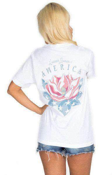 Women's Tee Shirts - American Magnolia Pocket Tee In White By Lauren James - FINAL SALE