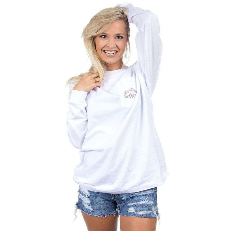 Women's Tee Shirts - Arkansas Classy Saturday Long Sleeve Tee In White By Lauren James