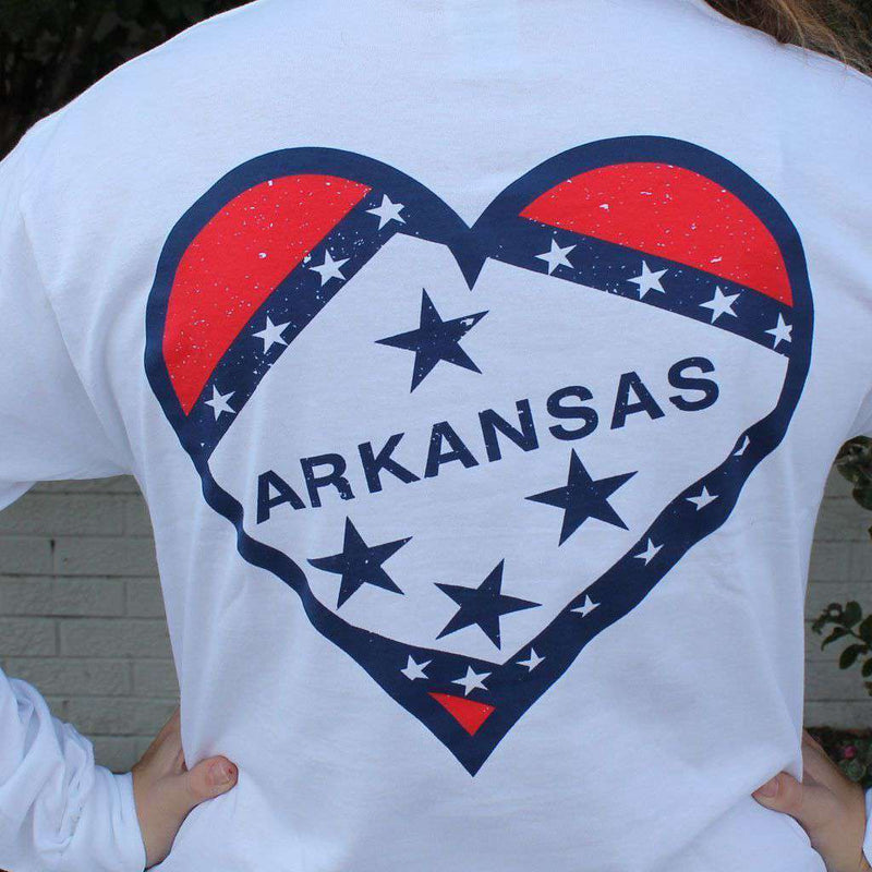 Women's Tee Shirts - Arkansas Pride Long Sleeve Tee In White By Lauren James - FINAL SALE