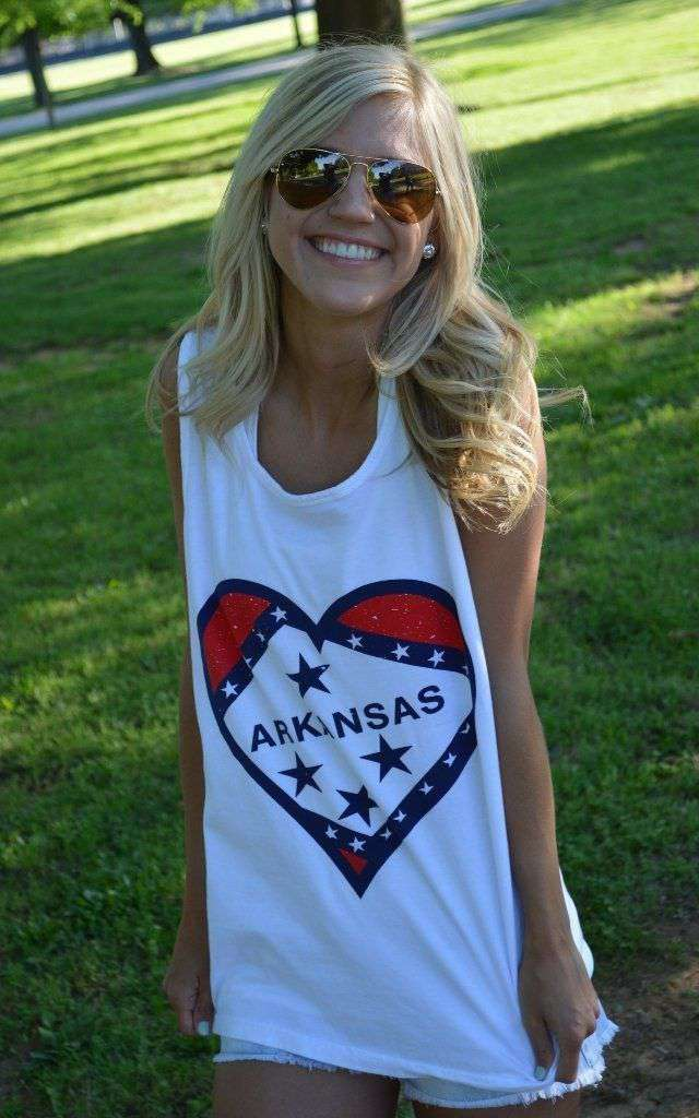 Women's Tee Shirts - Arkansas Pride Tank Top In White