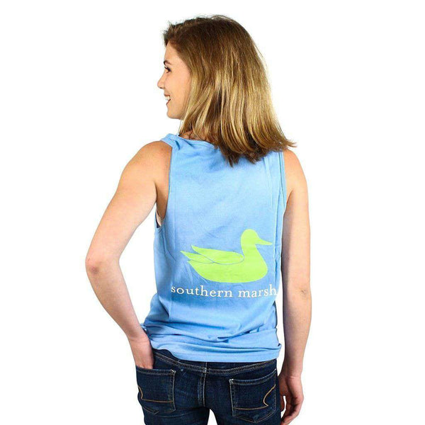 Women's Tee Shirts - Authentic Tank In Breaker Blue By Southern Marsh