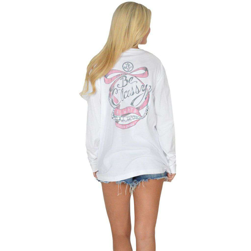 Women's Tee Shirts - Be Classy Always Long Sleeve Tee In White By Lauren James - FINAL SALE