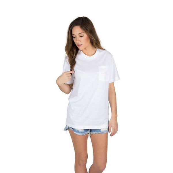 Women's Tee Shirts - Be Classy Pocket Tee In White By Lauren James - FINAL SALE