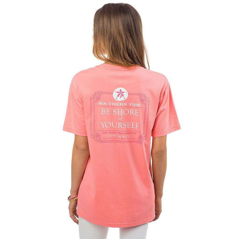 Women's Tee Shirts - Be Shore Of Yourself Pocket Tee Shirt In Light Coral By Southern Tide
