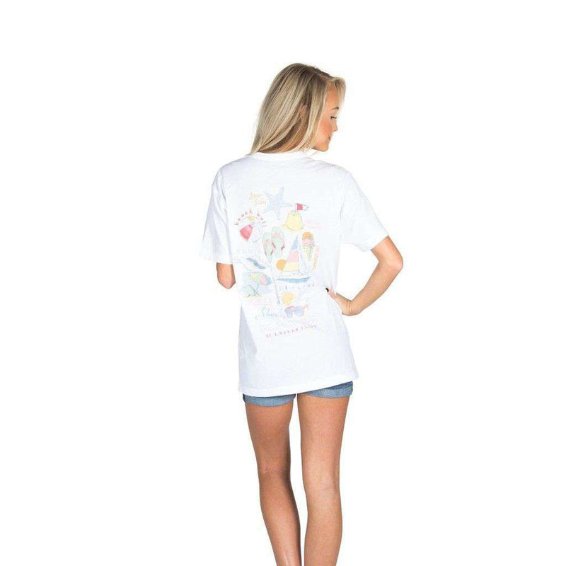 Beach Life Pocket Tee in White by Lauren James - FINAL SALE