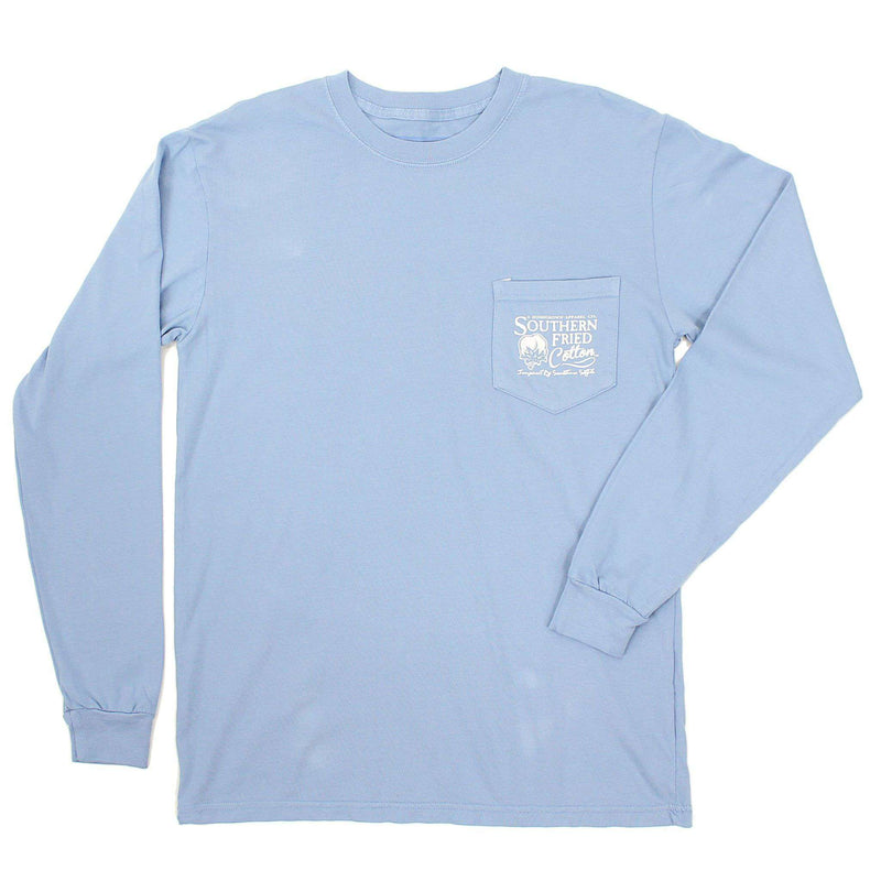 Women's Tee Shirts - Bear Crossing Long Sleeve Tee Shirt In Washed Denim By Southern Fried Cotton