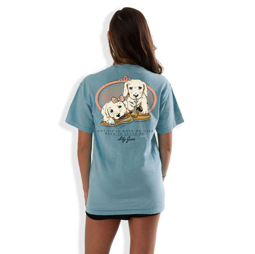 Women's Tee Shirts - Boat Shoe Puppies Pocket Tee In Ice Blue By Lily Grace