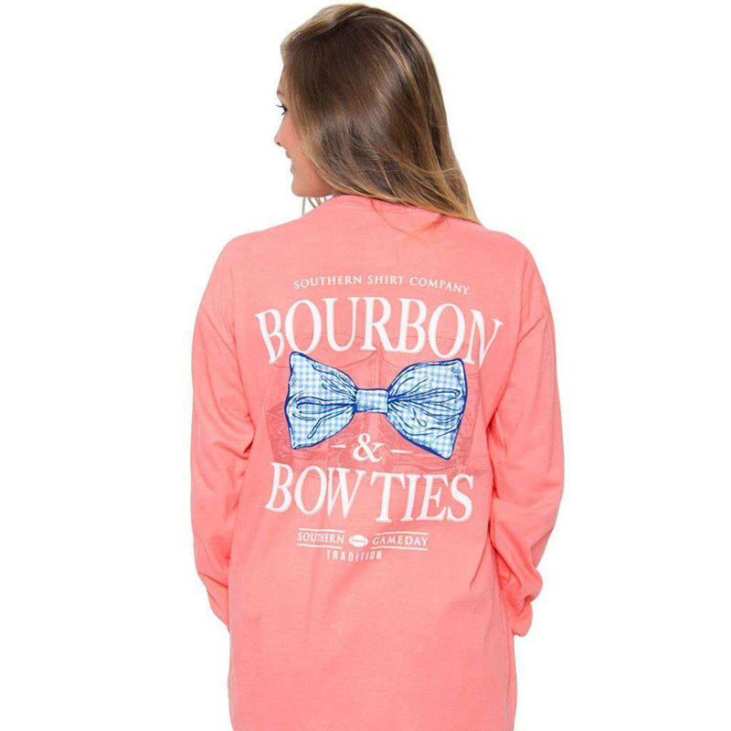 Bourbon & Bow Ties Long Sleeve Tee in Pink Salmon by The Southern Shirt Co. - Country Club Prep
