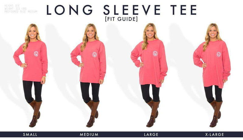 Women's Tee Shirts - Bourbon & Bow Ties Long Sleeve Tee In Pink Salmon By The Southern Shirt Co.